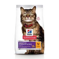 Хиллс  сухой корм для кошек для здоровья кожи и пищеварения с курицей, 300г